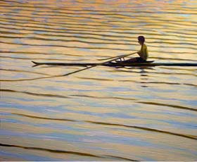 ROWING IN THE SUNSET II - click to view larger image...